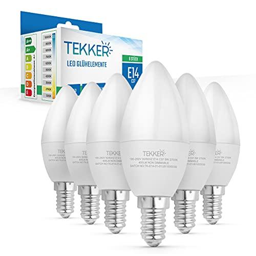 TEKKER® Premium E14 LED Kerze – 6 Stück – Candle Kerzenform – Warmweiss – 2700K – 400 Lumen – 5W – 160° Strahlwinkel – C37 Leuchtmittel – Energieklasse A+