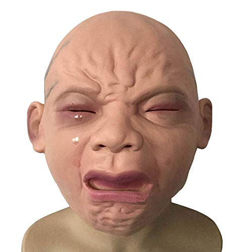 XWYWP Mscara de Halloween realista llorando beb mscara Halloween Bar Cosplay Prop Latex cabeza completa llorando mscara de la cara Pelucas habitacin casa encantada terrorismo mscaras asshow