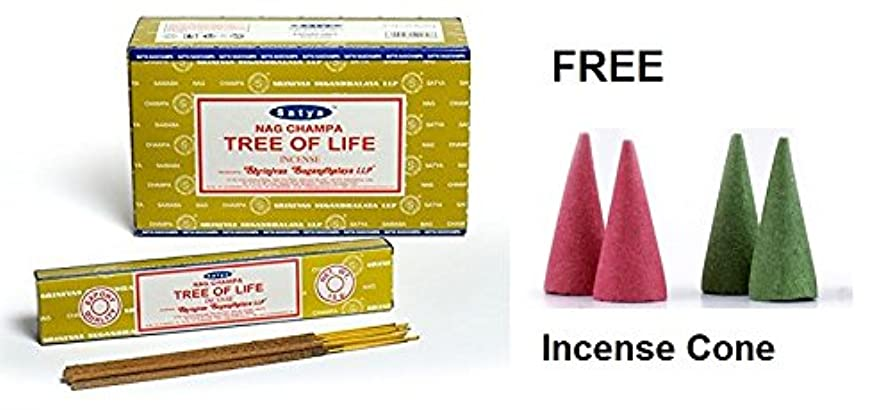 Buycrafty Satya Nag Champa Tree of Life Incense Sticks 180 Grams Box (15g x 12 Boxes) With Free 4 Incense Cone Assorted incense
