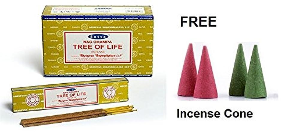 伝統的知性拳Buycrafty Satya Nag Champa Tree of Life Incense Sticks 180 Grams Box (15g x 12 Boxes) With Free 4 Incense Cone Assorted incense