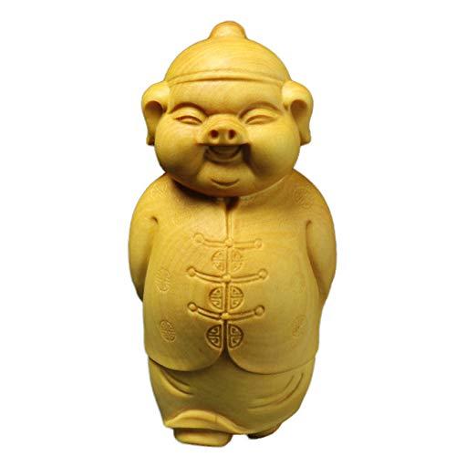 LISAQ Estatua de arrendador Chino Tallado en Madera de boj Adornos de decoración del hogar artesanías talladas a Mano
