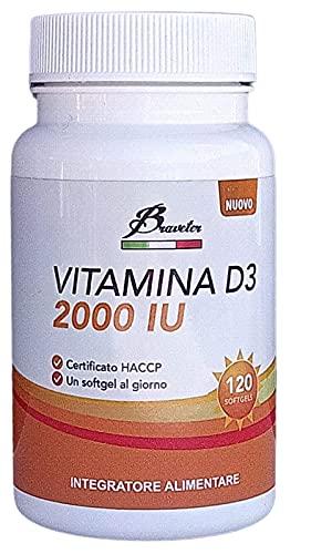 Braveter Vitamina D 3 Integratore Alimentare Dibase 120 Compresse Softgel d3 d2000 ui Alto Dosaggio Per Adulti Donna Uomo Salute Capelli Ossa