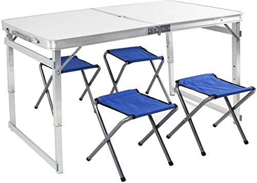 Buy Bargain Tiptiper Portable Picnic Table Camping Table with 4 Stools, 4 ft Folding Table for Utili...