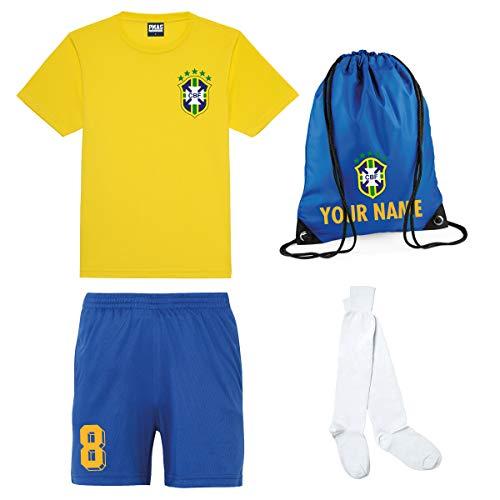 Print Me A Shirt Kit del Equipo de Brasil Brazil Personalizable para Ninos con Camiseta de Futbol, Pantalones Corto, Calcetines y Bolsa.