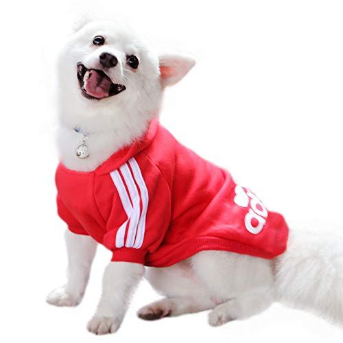 Eastlion Adidog Hund Pullover Welpen-T-Shirt Warm Pullover Mantel Pet Kleidung Bekleidung, Rot, Gr. L