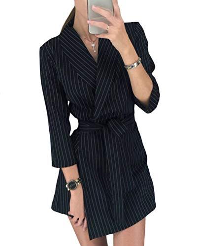 Minetom Mujer Blazer Chaqueta del Traje Elegante Manga Larga Mini Vestido Cuello en V Oficina Negocios Abrigo Fiesta Dress con Cinturón A Negro Rayas 34