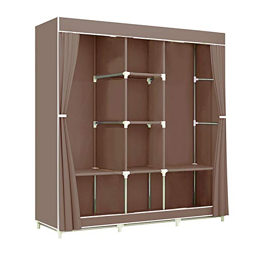 Greenbelt Portable Clothes Closet Non-Woven Fabric Wardrobe Double Rod Storage Organizer 45.5 x 17 x 65 inches (Brown)