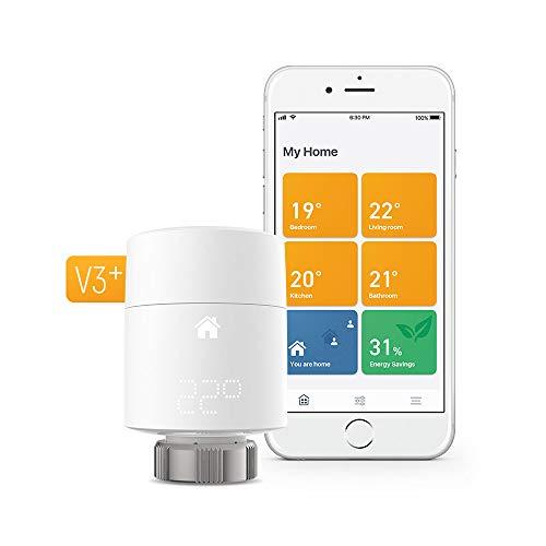 tado° Kit di Base Termostato Intelligente per Radiatore V3+, Montaggio Verticale, Controllo Intelligente del Riscaldamento, Installazione Fai da Te, Compatibile con Alexa, Siri e Google Assistant
