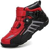 FGDFGDG Zapatos de Locomotora 4 Estaciones Mujeres Hombres Botas de Montar en Motocicleta Velocidad Carreras Carretera Ciclismo de montaña Calzado Deportivo Corto Bottes de Moto,Rojo,40