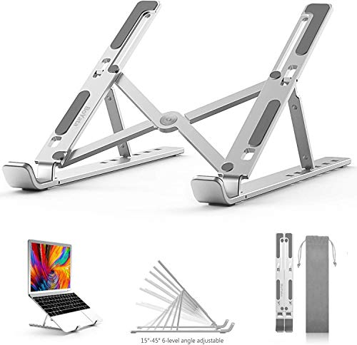 "Laptop Stand, Boyata Adjustable Portable Laptop Holder for Desk, Aluminum Foldable Laptop Riser with 6 Levels of Height Adjustment, Compatible with MacBook Air Pro, Dell, HP, Lenovo,10-15.6"" Laptops"