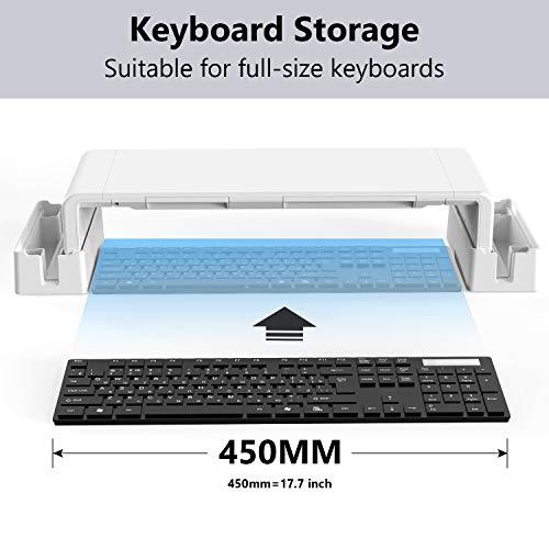 Monitorständer mit Aufbewahrungsfunktion,MiiKARE Verstellbarer Bildschirmständer mit ausziehbarer Schublade+Handy Ständer+2 Aufbewahrungsgestelle,Laptopständer Bildschirmerhöher für Computer,Laptop,TV