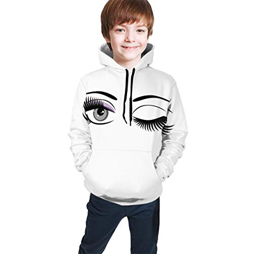 Teen Hooded Sweatshirts,Cartoon Style Dramatic Woman Eyes with Long Lashes Winking Flirting Gesture XL