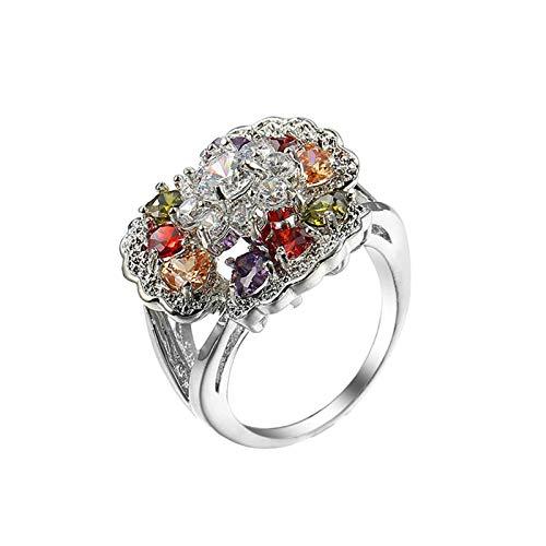 Beydodo Anillo Chapado en Plata Anillos de Compromiso Mujer Plata Flor con Cristal Circonita Colorido Talla 12