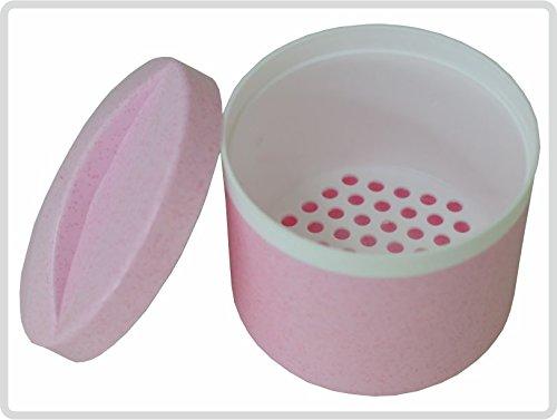 Zahnprothesendose mit Sieb und Deckel, Rosa - Zahnspangendose Dentalbox