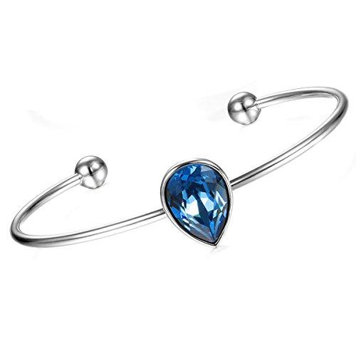 Cupimatch Pulsera Mujer con Cristal Swarovski Elemento en Forma Gotitas de Agua Pulsera Mujer Exquisito Hipoalergénico Regalo para Amor, Azul (Azul)