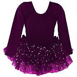 Dancina Leotard Sparkle Tutu Dress Long Sleeve Future Ballerina First Ballet Class Gift 2T Dark Purple
