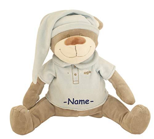Babiage Doodoo Plüschtier individuell bestickt mit Name, Baby Einschlafhilfe, Spieluhr, Herzschlag und weißes Rauschen zur Beruhigung, Design:Bär blau