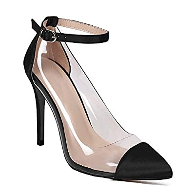 Womens Pointed Toe Pumps High Heels Transparent Ankle Buckle Strap Sexy Dress Shoes