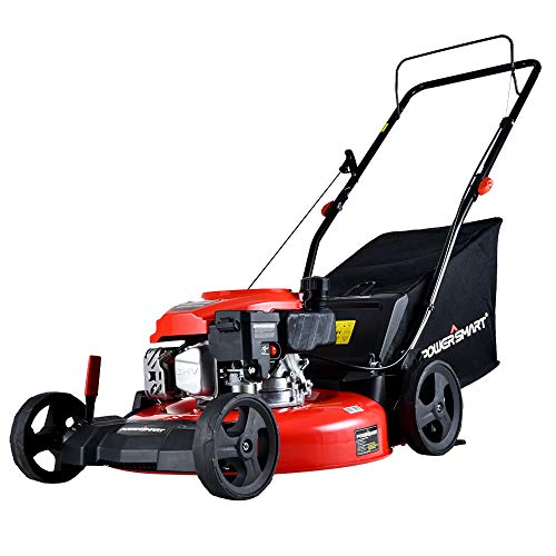 PowerSmart Lawn Mower, 21-inch & 170CC, Gas Powered Push Lawn Mower with 4-Stroke Engine, 3-in-1 Gas Mower in Color Red/Black, 5 Adjustable Heights (1.18''-3.0''), DB2194PR