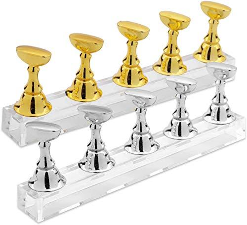 2 Sets Acryl Nagel Display Ständer Nagelspitze Übungsständer Magnetische Nagel Übungshalter Fingernagel DIY Nail art Ständer für Falsche Nagelspitze Maniküre Werkzeug