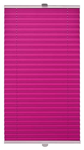Domdeco Plissee 90x120cm Violett mit weiß lackierten Alu-Profilen, KlemmFix-Halterung zur Montage ohne Bohren
