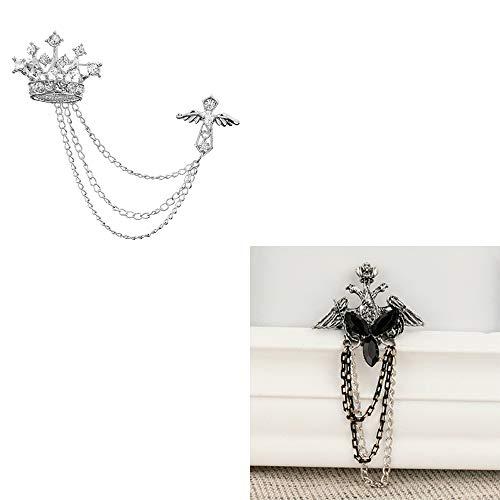 Huture 2PCS Broche de Hombre Broches de Alfiler Blusas con Clip Accesorios de Bufanda Agujas de Clip Corona de Plata-Diamante Negro Clips de Cristal Ramillete de Insignia Joyería de Moda Para Damas