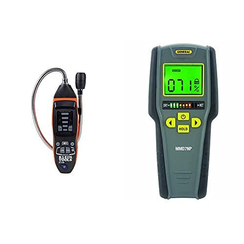 Klein Tools ET120 Gas Leak Detector, Combustible Gas Leak Meter & General Tools MMD7NP Pinless, Non-Invasive, Non-Marring, Digital Moisture Meter, Water Leak Detector