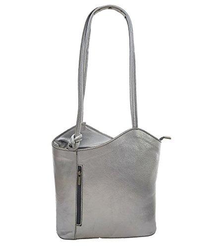 Freyday 2 in 1 Handtasche Rucksack Henkeltasche aus Echtleder in versch. Designs HR03 (Silber Metallic)