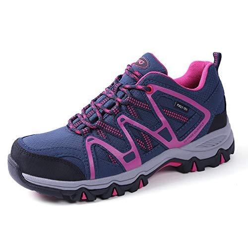 TFO Damen Trekking & Wanderschuhe Atmungsaktive Walkingschuhe Sport Outdoor Schuhe mit Gedämpfter Sohle, Blau Rosa, 40.5 EU