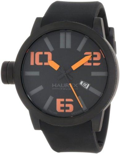 Haurex Italy Men's 1N377UNO Turbina Black IP Case Black Dial Silicone Date Watch