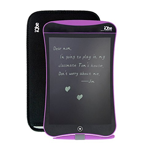 iQbe 9inch LCD Writing Tablet, Kids Durable Writing Board eWriter as A Perfect Gift with Protect Sleeve (Rose Red)