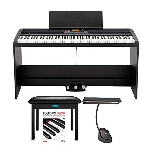 KORG XE20SP 88 Weighted Keys Digital Piano with Stand and 3 Pedals Bundle with Knox...