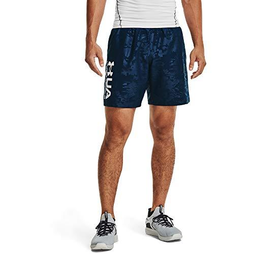 Under Armour Pantalones cortos tejidos en relieve para hombre - 1361432, pantalones cortos entretejidos., L, azul oscuro (408)/blanco