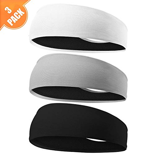 EasYoung Headbands for Men, 3 Pack Guys Workout Sweatbands Sport Headbands for Running, Crossfit, Working Out and Performance Stretch Workout Hairbands, Moisture Wicking Versatile Headbands Fits All