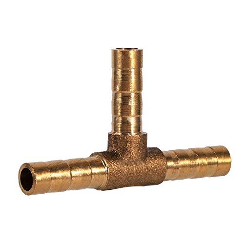 Conector de púas de la manguera de combustible de la T-pieza de 3 vías, Keenso Adaptador de la manguera de la unión de la manguera de bronce para el aceite de gas de agua del aire de combustible(6mm)