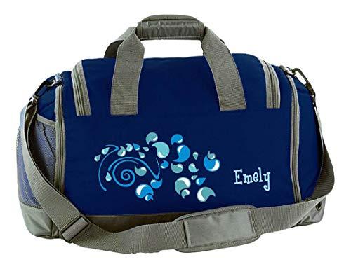 Mein Zwergenland Sporttasche Kinder mit Schuhfach und Nassfach Kindersporttasche 41L mit Namen personalisiert, Motiv Tropfen, in French Navy Blau