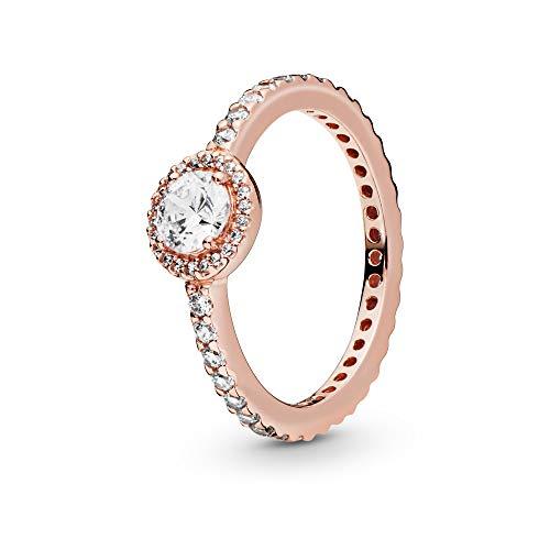 Pandora Jewelry Classic Sparkle Halo Cubic Zirconia Ring in Pandora Rose, Size 7