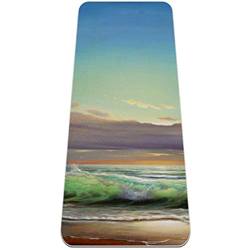 Oil painting sea sunset Yoga Mat - Eco Friendly, Nonslip for Hot Yoga; Travels Easily in Your Yoga Bag; Comes with Yoga Mat Strap ; Best, Thick, Organic Mat for Exercise, Pilates and Yoga;