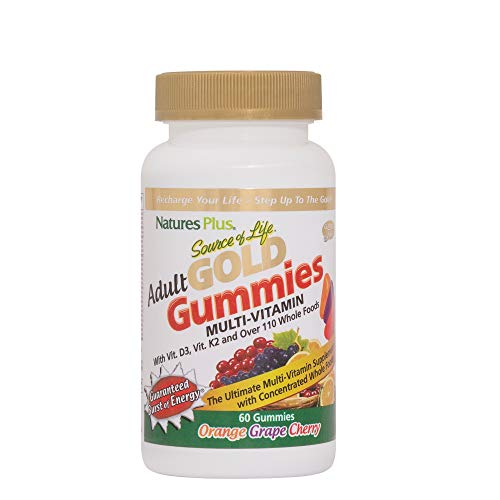 NaturesPlus Source of Life Gold Adult Multivitamin Gummies 3 Pack - 60 Whole Food Gummies - Complete Daily Vitamin Supplement - Free Radical Defense, Energy Support - Gluten-Free - 90 Total Servings