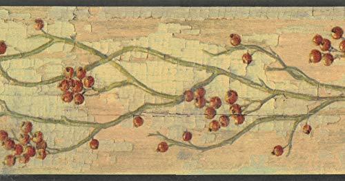 Dundee Deco BD6248 Tapeten Bordüre mit Blumenmuster, Grün, Beige, Braun, Rot Tapetenbordüre