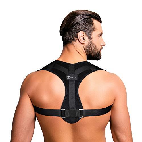 ZEALactive Haltungstrainer zur Haltungskorrektur – elastisch & atmungsaktiv - Geradehalter für eine gesunde & aufrechte Haltung bei haltungsbedingten Rücken & Nackenschmerzen (Schwarz,M)