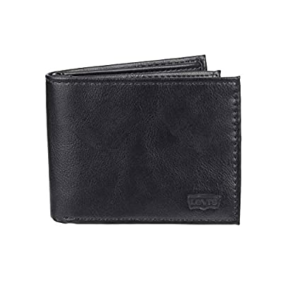Levi's Men's Slim Bifold Wallet - Genuine Leather Casual Thin Slimfold with Extra Capacity and ID Window, Clarcoal Black, One sizee