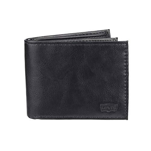 Levi's Men's Extra Capacity Slimfold Wallet, Charcoal Black, One Size