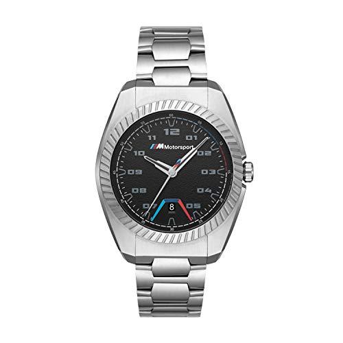 BMW M Motorsport - Reloj de Cuarzo con Correa de Acero Inoxidable, Plateado, 20 - BMW3000