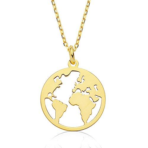 Iyé Biyé Jewels - Collar Mujer niña Plata de Ley 925 Mundo 14 Mm Bañado Oro Amarillo Cadena Forzada 42 cm Ajustable.