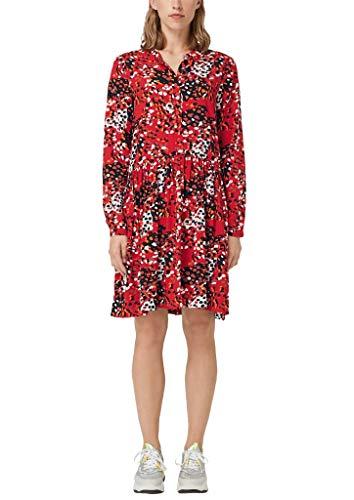 Q/S designed by - s.Oliver Damen Viskosekleid mit Musterprint red AOP 38