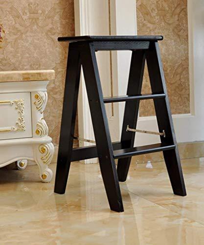 ZfgG Hout 2-traps Ladder – Anti-slipvoetjes – eenvoudig op te bergen opvouwbaar ontwerp – ideaal voor thuis/keuken/garage 6KG Max Capaciteit