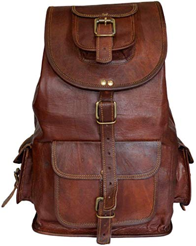 Genuine Leather Unisex Handmade Pure Leather Backpack for Men Laptop Drawstring Rucksack Backpack for Women, Large Travel Messenger Bag, Casual Daypack, School College Book Bag (Brown Color) (16 Inch); GL Bags-06.1
