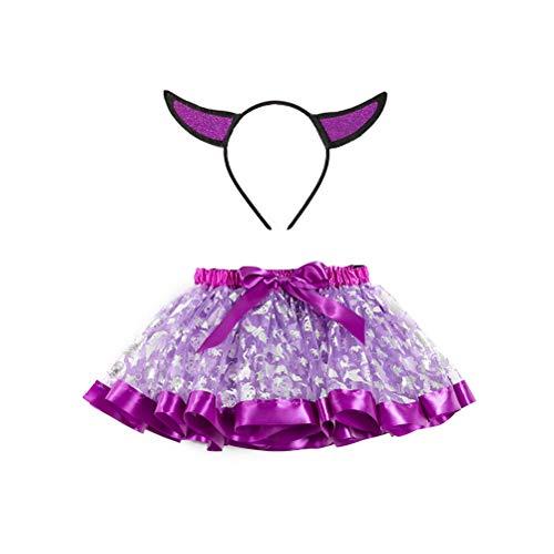 Tendycoco kinder adorable Tutu rok kostuum meisjes bedrukt feestjurk elastisch met haarband (maat L)
