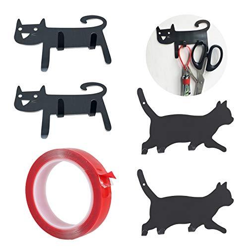 Heiqlay Haken Selbstklebend, Katzenhaken, Klebehaken für Kinder, Netter Tier-Karikaturhaken, für Kinder Schlafzimmer Küche Badezimmer Kühlschrank Dekor, 4 Stück, schwarze Katze